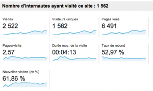 Audience site internet apres 4 mois